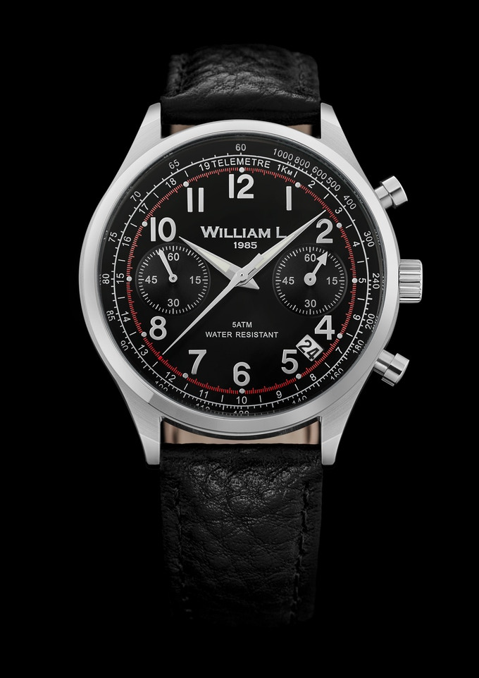 Vintage Chronograph Stainless Steel case with black leather strap