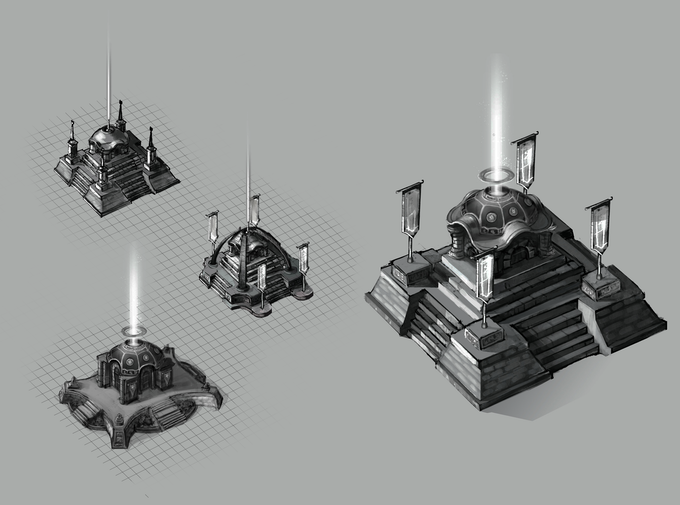 Early shrine building concept designs