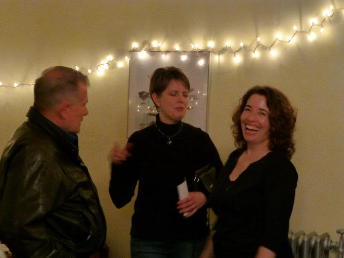 Yours truly: enjoying myself to pieces, laughing at a Christmas party!