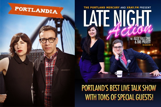 Comedy Package: Receive a signed Portlandia poster with a personalized note from Carrie Brownstein and Fred Armisen, plus 2 tickets to Late Night Action with Alex Falcone $75 (Photo Credit: Pat Moran)