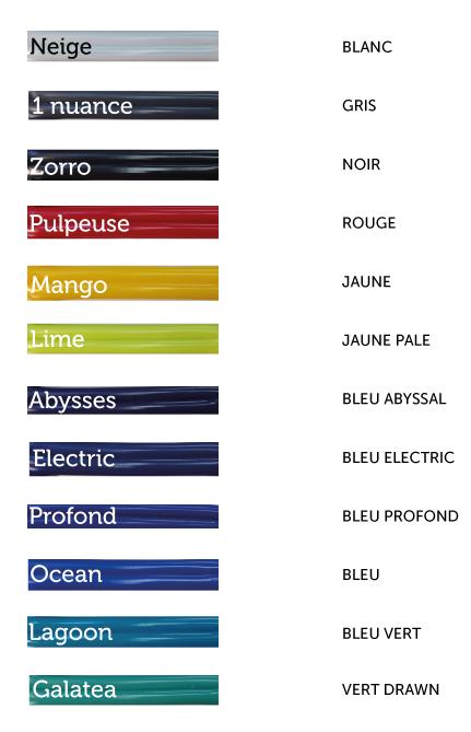 Vous pouvez choisir parmi toutes ces couleurs ! - You can pick one of these colors!