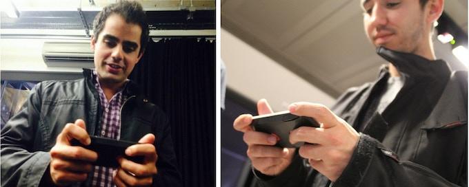 Users testing Flitchio (left: at TechHub Demo Night, right: at Hardware Startub Lab)