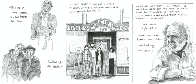 Original art sale! Receive a piece of original artwork from one of Know Your City's comics by Natalie Sept, about Genny Nelson, founder of Sisters Of The Road Cafe $100