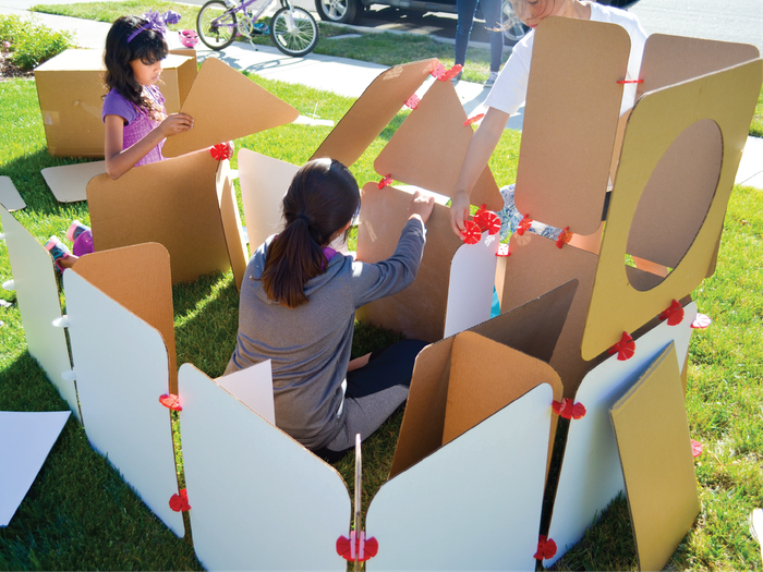 Boxly is a 100% recyclable, cardboard fort-building kit that gives kids creative license over their space.