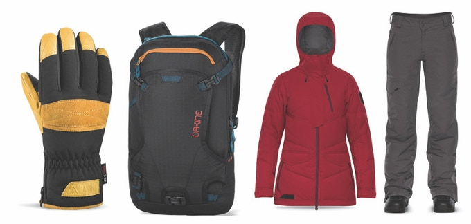 Women's Dakine: Corsa Glove, Heli Pack, Lorimer Down Jacket & Kam GORE-TEX Pants