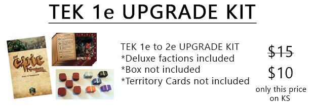 The upgrade kit includes 1 action card, 1 tower card, 16 faction cards (deluxe included), 5 ore bits (new design), 5 research tokens (new design) and the TEK 2e rule book.