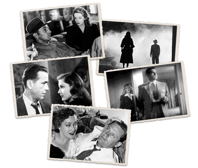 Out of the Past (1947), The Big Combo (1955), The Big Sleep (1946), Double Indemnity (1944), Sunset Blvd. (1950)