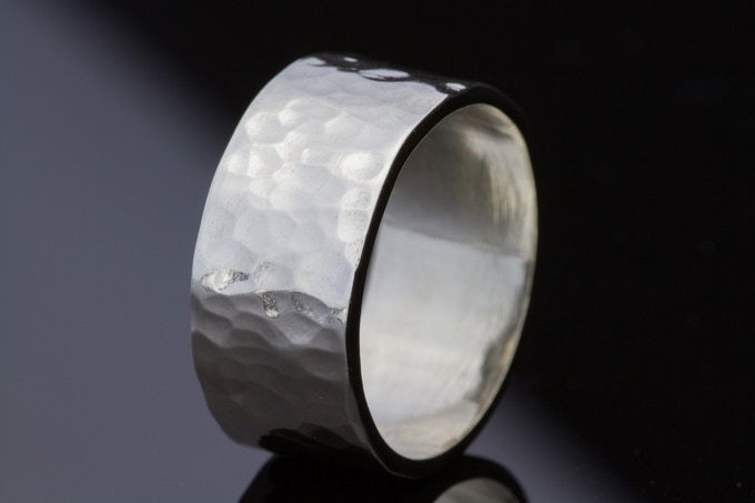 Handmade gently hammered ring in Sterling silver.