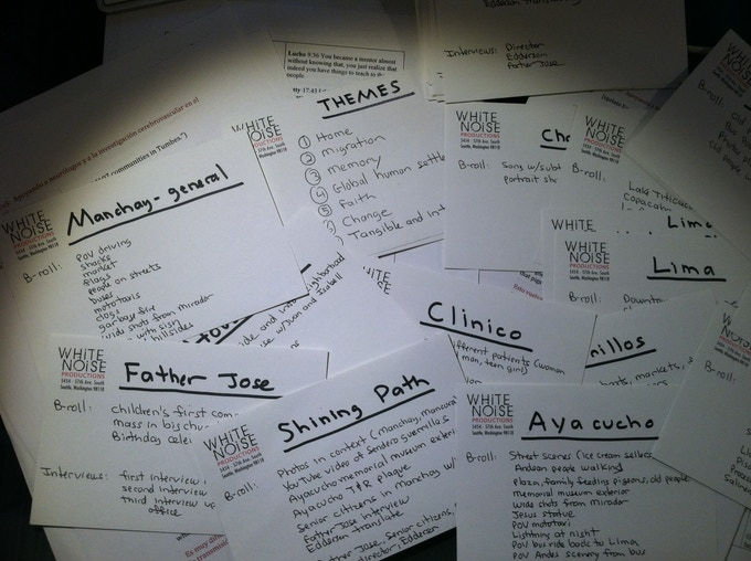 3x5 cards help us to organize our story; talk about analog!