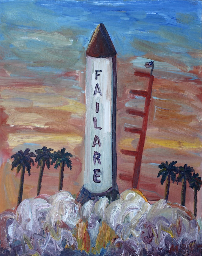 Spaceship Failare oil painting