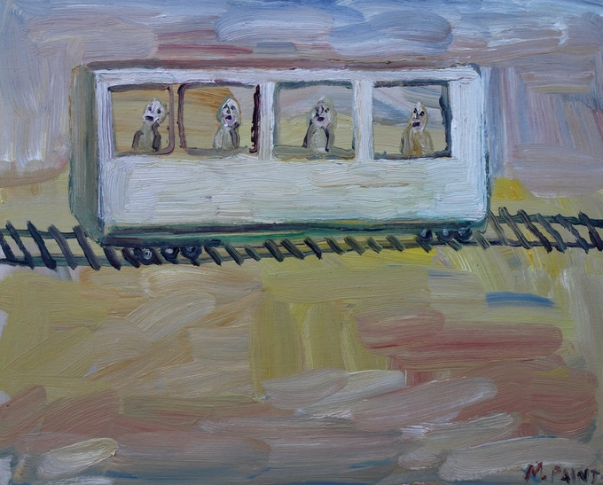 Man who fell to Earth or Getty tram painting