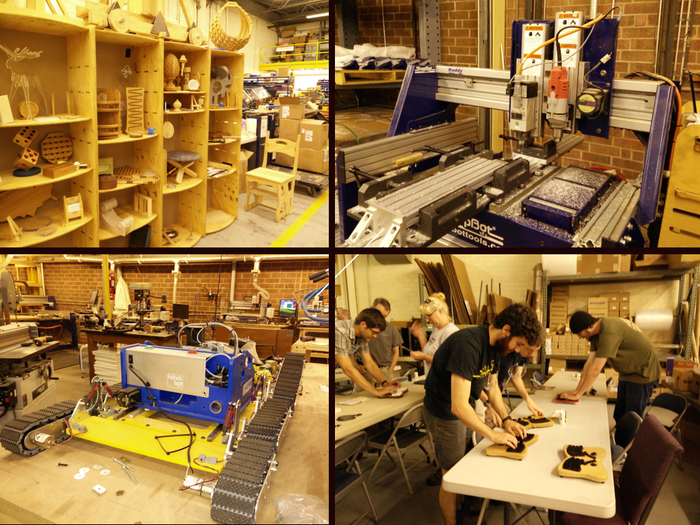 Clockwise from upper right: Shopbot reproducing;Shopbot employees trying out the Model 01; a Handibot on treads; some creations other designers have made on ShopBot machines
