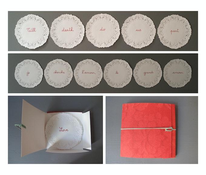 Les napperons seront livrés dans un emballage fait main. Chaque phrase est une édition limitée à 10 exemplaires. Oeuvre signée et numérotée.