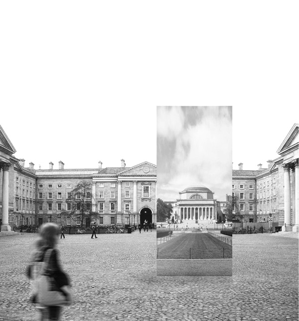 The portal at Front Square, Dublin's primary public space, with Dublin in turn the digital epicenter of Europe.