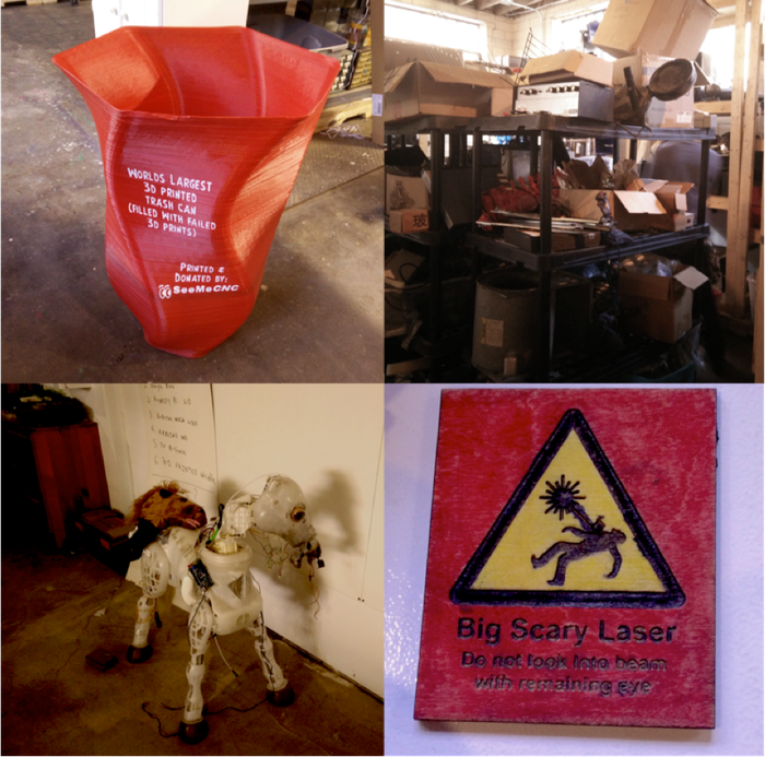 """Clockwise from upper right: The Boneyard; Accurate safety signage; Buttercup, may she someday ride again; """"World's Largest 3D Printed Trash Can Filled With Failed 3D Prints"""" (see yesterday's update)"""