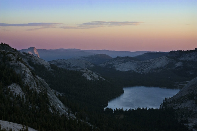 Tenaya Lake & Half Dome at sunset
