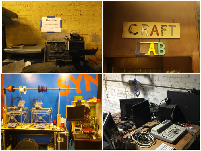 "Clockwise from upper right: synHak's craft lab full of sewing and fiber tools; parts for video editing station; 3D printer collection; ""Hack Pile: Make, Repair, or Destroy"""