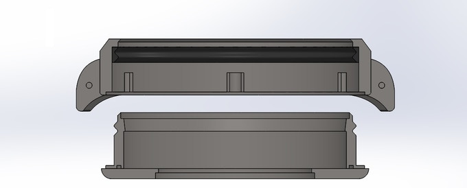 Cross section of the case and insert