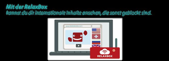 Mit der RelaxBox gehören diese Sperren der Vergangenheit an. Inhalte z.B. aus den USA, Großbritannien, Russland, der Schweiz oder Deutschland können überall abgerufen werden.