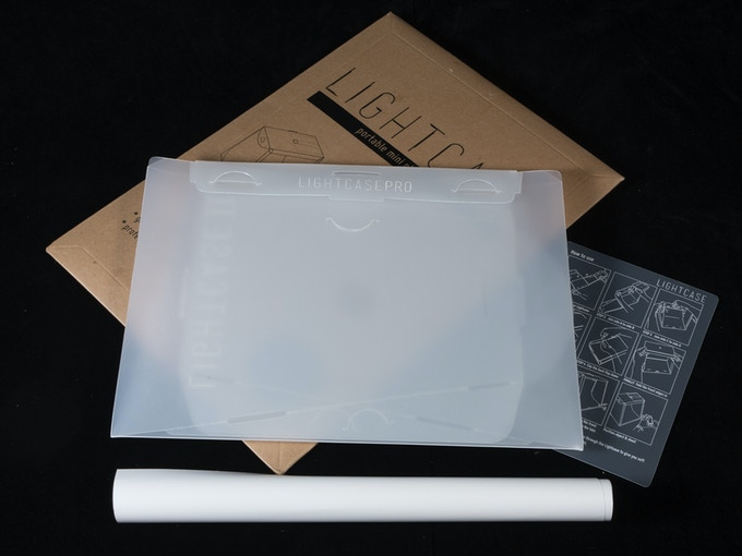 What you get - Lightcase flatpack, white backdrop and instruction sheet.