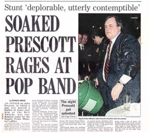 Chumbawamba throw bucket of ice over Deputy PM John Prescott