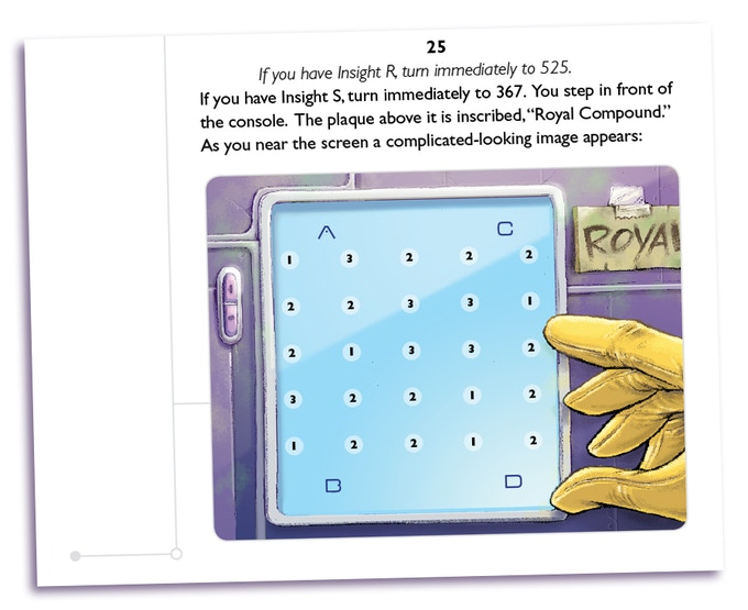 A book 1 page showing a computer door entry puzzle.