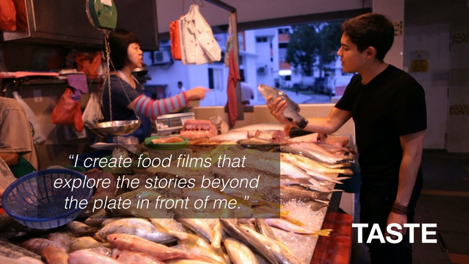 Me learning about fish harvesting in Singapore.