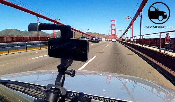 Attach the Hotshot Handle to a windshield suction mount for smooth phone shots on your cross country adventure.