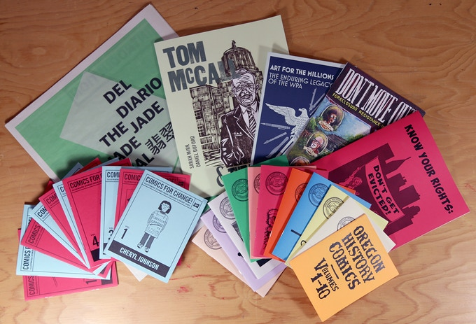KYC Pubs Package: Receive all Know Your City's Publications: Oregon History Comics, Comics For Change!, Don't Move Out!, Don't Get Evicted!, Art For The Millions, Tom McCall & the Vortex, Jade Journal and Insider's Guide to Portland $100