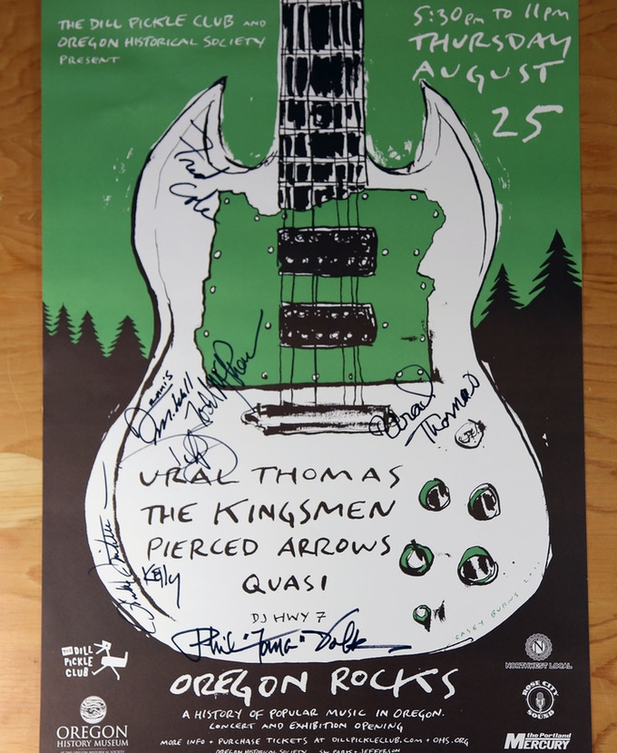 Receive an Oregon Rocks poster designed by Casey Burns, and signed by Ural Thomas, members of the Kingsmen and Pierced Arrows. Own this amazing piece of Oregon music history! $150