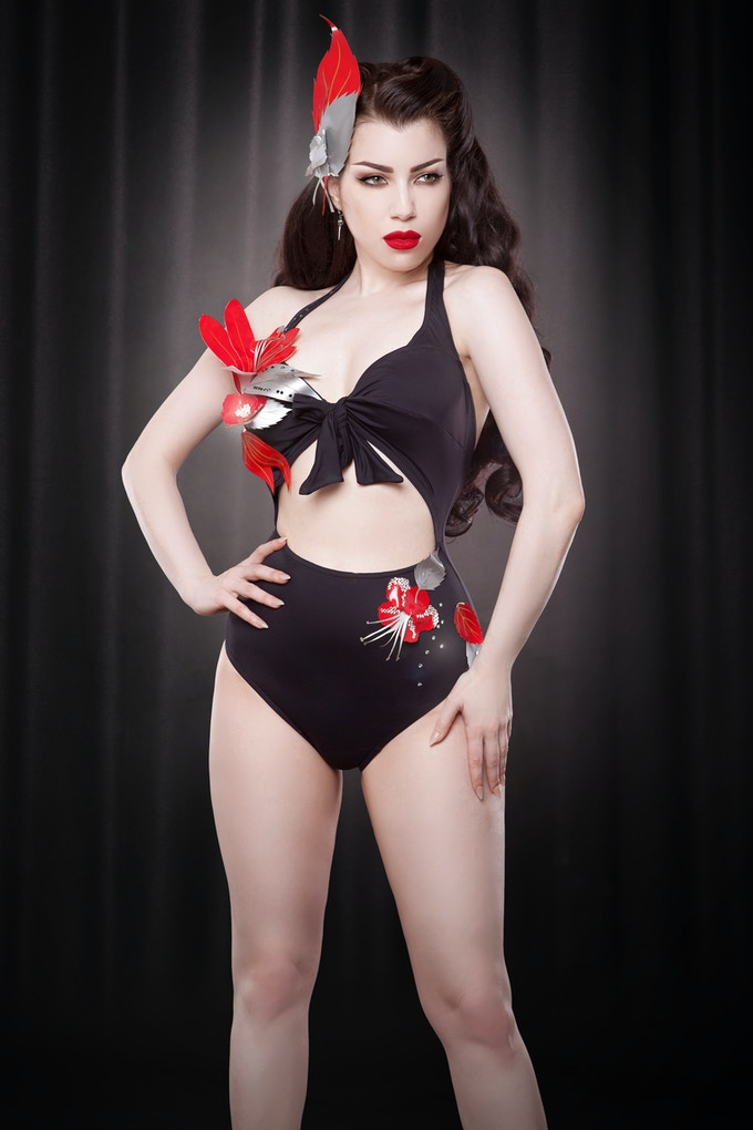 Custom made vintage inspired swimsuit with laser cut flowers embellished with Swarovski crystals by Lyzzy Beswick (with thanks to Pimoroni)