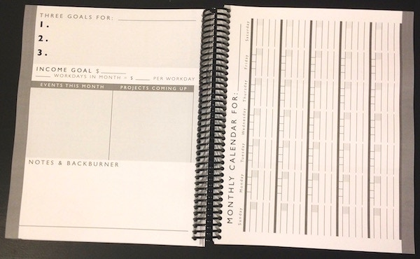 The monthly planning pages and calendar view