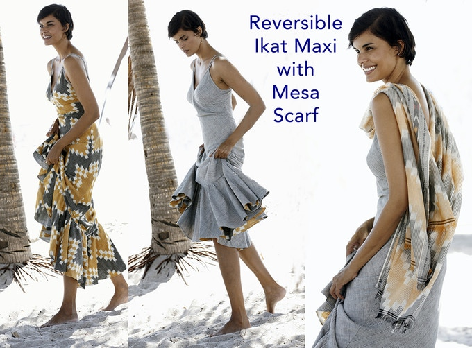 The Ikat Maxi Dress front and back views
