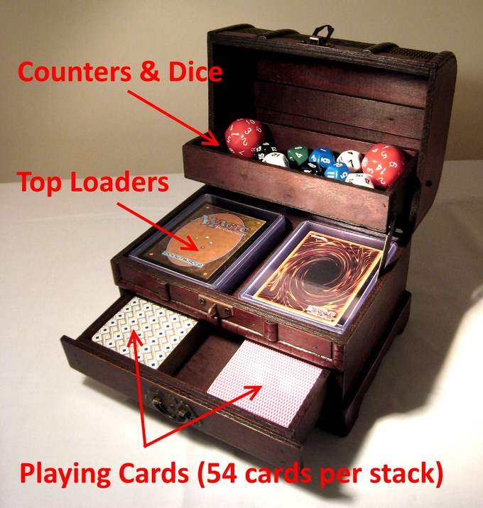 You can also use it for storing cards, counters & dice. (But it aren't really designed to fit your Mtg, Pokemon, or Yugioh Decks.)