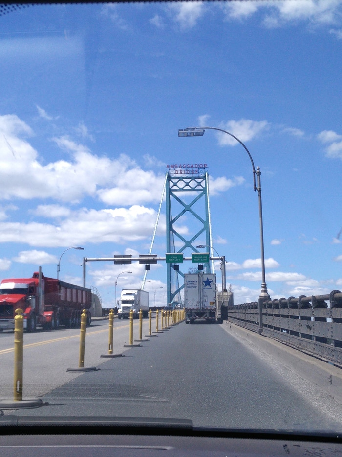 Crossing over the Ambassador Bridge from Ontario to Michigan