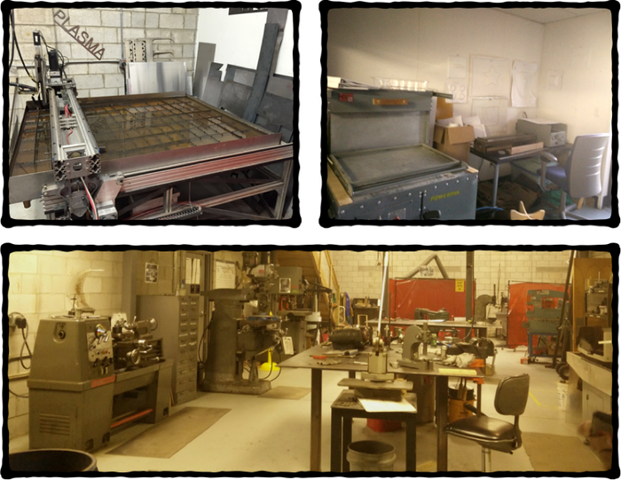 Top row: plasma cutter; vacuum-forming equipment.  Bottom: A huuuuuge metal lab with multiple lathes and a magnetic metal bending brake and some stuff that was totally new to us (English wheel, for one)
