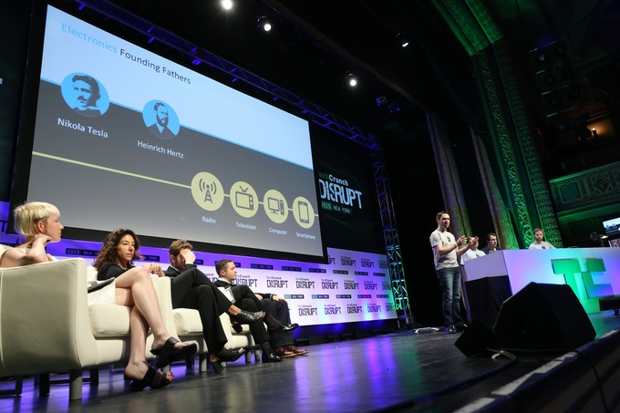Co-Founder of Nikola Labs, Will Zell pitches on stage in the Startup Battlefield at TechCrunch Disrupt New York. (Photo Credit: TechCrunch)