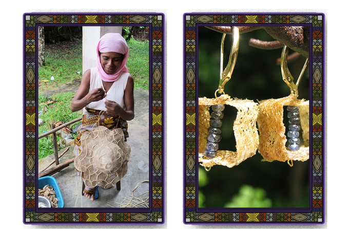 Sample cards with wild silk products