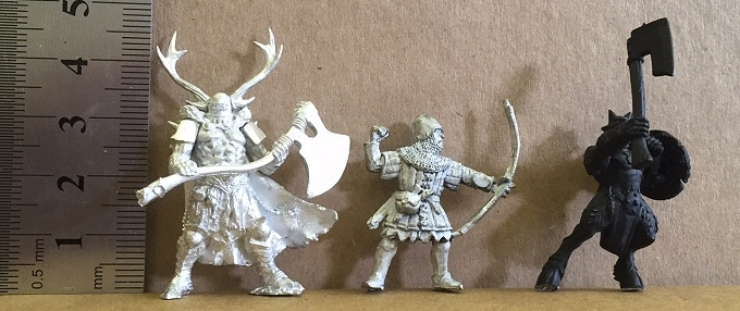 A scale comparison between an Ax-Drune and miniatures from other manufacturers