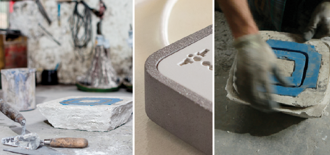 From Architecture to Design. The Concrete is poured into the Silicone Mold.