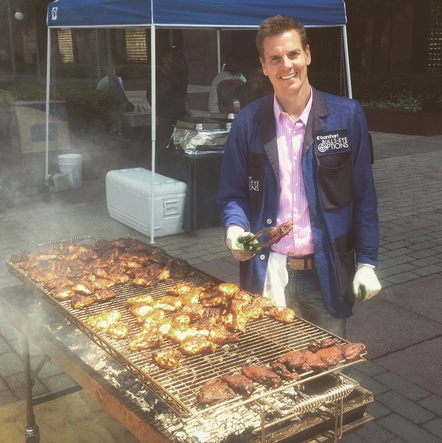 Alan in his element, trading jacket and all, grilling in the CBOE courtyard