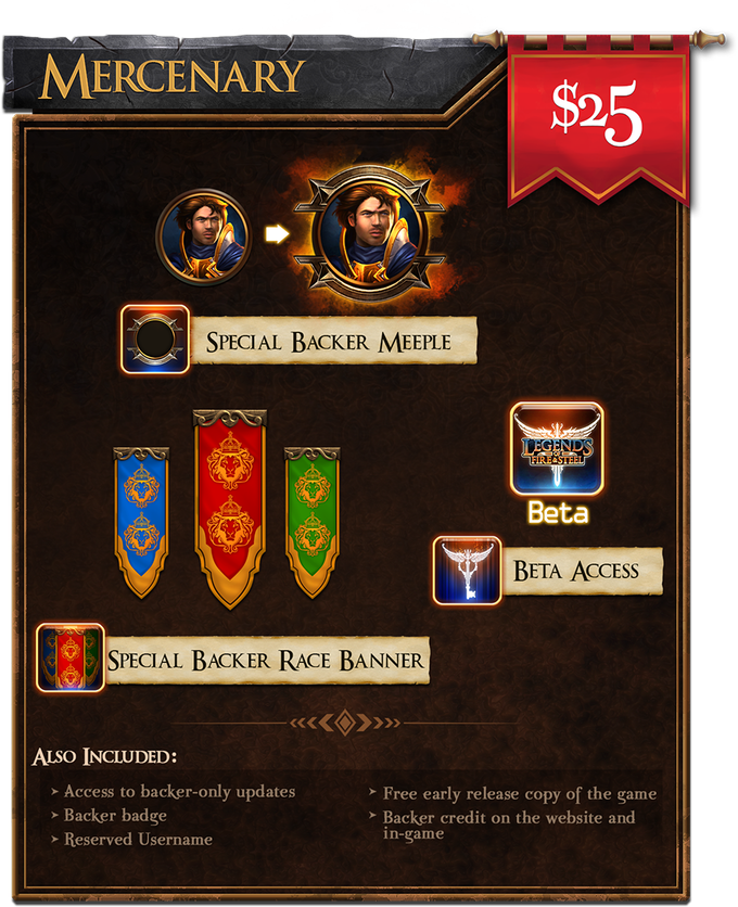 Mercenary ($25): Get beta access with special backer meeple and race banner!
