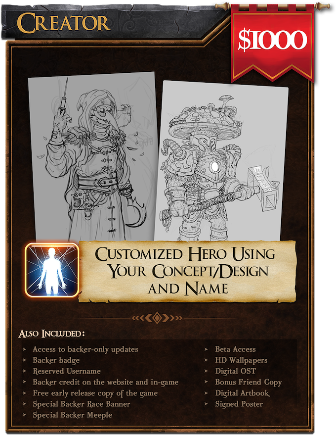 Creator ($1000): Get a customized hero using your own concept/design and name!