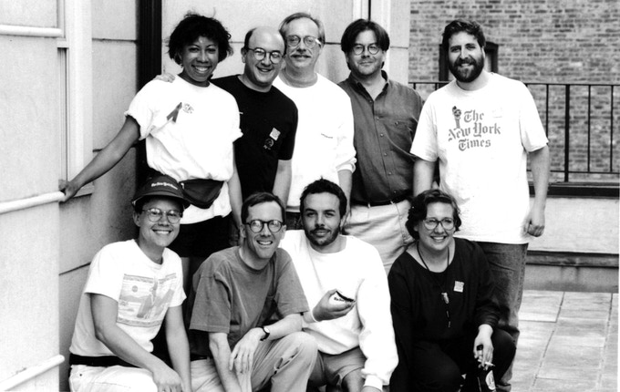 Jeff with friends and family for the 1993 AIDS Walk: Back row left to right:  Lynda Richardson, Rich Meislin, Jeff Schmalz, Roy Finamore Michael Wilde; front row left to right: Ben Kushner, David Dunlap, Hendrik Uyttendaele, Wendy Schmalz