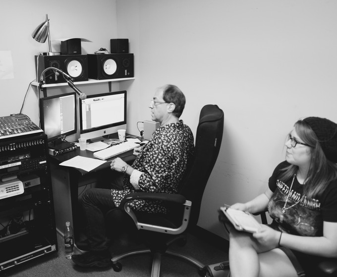 """Our exceptional actress director, Brittany """"Bree"""" Lauda, at work at the midtown sound studio in NYC."""