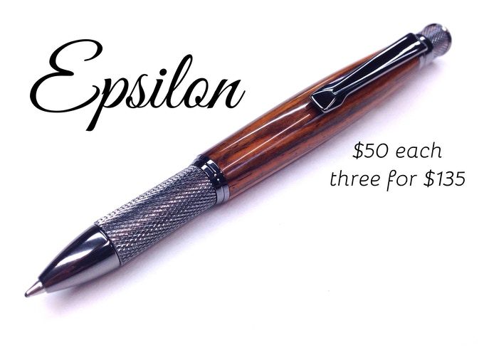 Epsilon - (cocobolo pictured) - study grip and gorgeous knurl details - ballpoint or gel pen