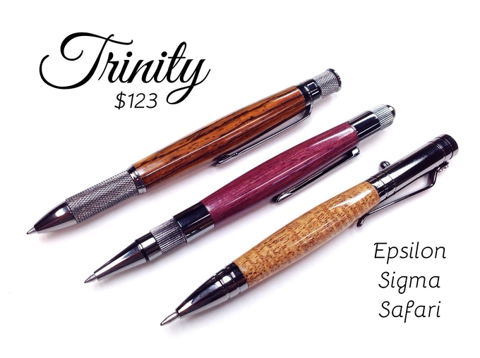 Trinty Pen Collection - ballpoint or gel pens (pictured top to bottom, cocobolo, purpleheart, curly mahogany)