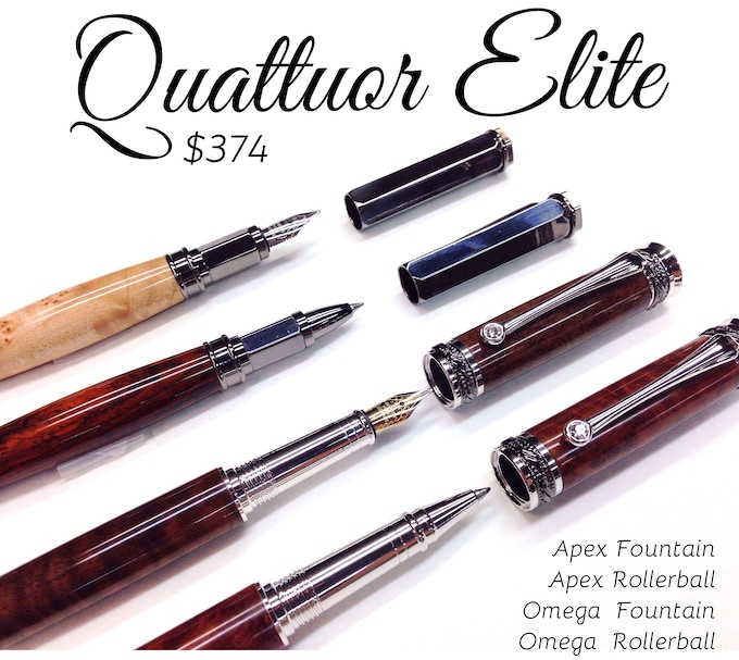 One of each fountain pen and rollerball in this collection in your choice of wood, of course. (pictured top to bottom, maple burl, cocobolo, curly walnut, redwood burl)