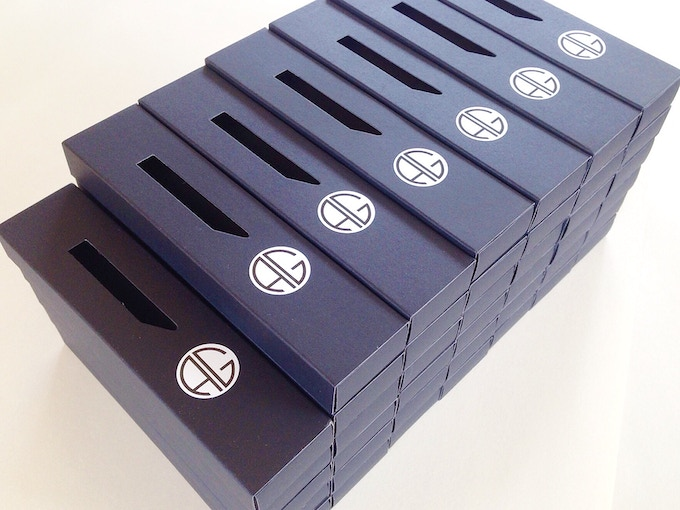 Each pen comes in a black slipcase with the AG logo