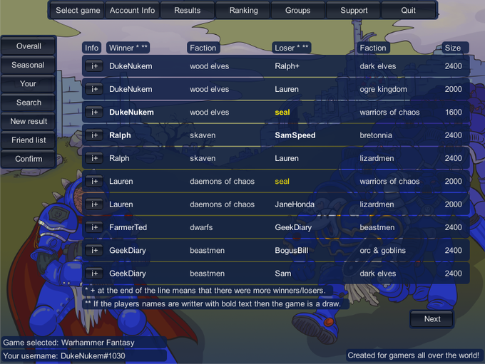 Game Result -page (draw game results will be highlighted better on live version)